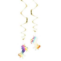 Fényes Unikornis - Egyszarvú Spirális Függő Dekoráció - 2 db-os