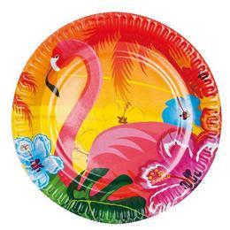 Flamingó Hawaii Mintás Party Tányér - 23 cm, 6 db-os
