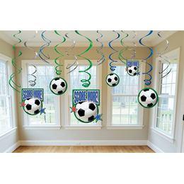 Foci - Soccer Spirális Függő Dekoráció - 12 db-os