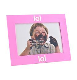 Rózsaszín Fotókeret LOL (laugh out loud) Felirattal