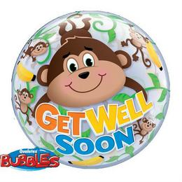 22 inch-es Get Well Monkeys Bubble Lufi