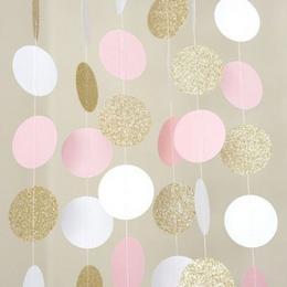 Csillogó Arany - Fehér - Pink Elegáns Kerek Dekorációs Füzér - 3 m