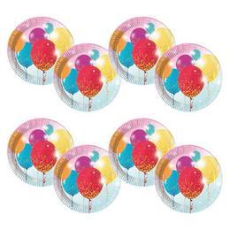 Glittering Balloons Parti Tányér - 23 cm, 8 db-os