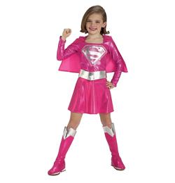 Rózsaszín Supergirl Jelmez Kislányoknak, M-es