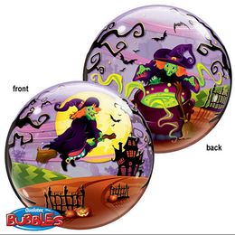 22 inch-es Flying Witch's Spooky Brew - Boszorkány Seprűn Bubble Lufi Halloweenre