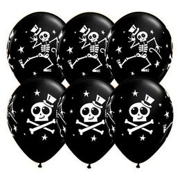 11 inch-es Dancing Skeleton and Top Hat Halloween Black Lufi (25 db/csomag)