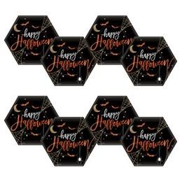 Halloween Hexagon Alakú Parti Tányér - 23 cm, 8 db-os