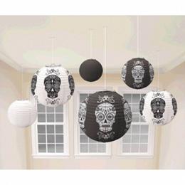 Fekete - Fehér Halloween Mintás Lampion - 6 db-os