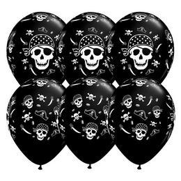11 inch-es Pirate Skull - Koponyás Kalózos Onyx Black Lufi (6 db/csomag)