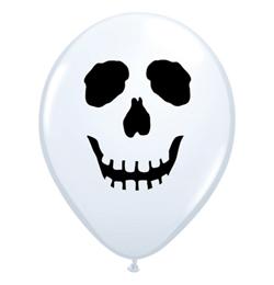 5 inch-es Koponyás - Skull Face White Lufi Halloweenre (100 db/csomag)