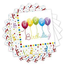 Happy Birthday Streamers - Szülinapi Parti Szalvéta - 33 cm x 33 cm, 20 db-os