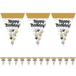 Happy Birthday! Elegáns Léggömbös Zászlófüzér - 5 m