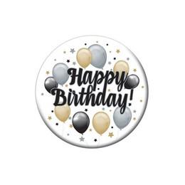 Happy Birthday! Elegáns Szülinapi Léggömbös Parti Kitűző - 5,5 cm