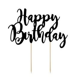 Happy Birthday Feliratos Fekete Szülinapi Tortadísz