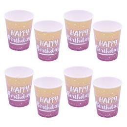 Happy Birthday Feliratú Rose Gold Ombre Színű Szülinapi Pohár - 250 ml-es , 8 db-os