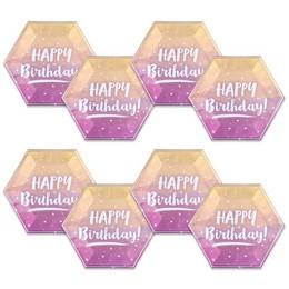 Happy Birthday Feliratú Rose Gold Ombre Színű Szülinapi Tányér - 23 cm-es , 8 db-os