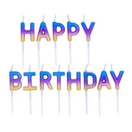 Happy Birthday Feliratú Szivárvány Ombre Szülinapi Gyertya