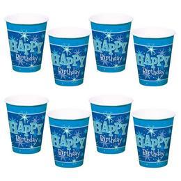 Happy Birthday Kék Sparkle Szülinapi Parti Pohár - 250 ml, 8 db-os