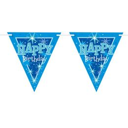 Happy Birthday Kék Sparkle Szülinapi Parti Zászlófüzér - 360 cm