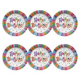 Happy Birthday! Radiant Szülinapi Parti Papír Tányér, 23 cm-es, 6 db-os