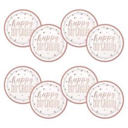 Happy Birthday Rózsaszín Csillámos Szülinapi Tányér - 23 cm, 8 db-os