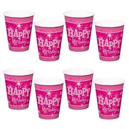 Happy Birthday Rózsaszín Sparkle Szülinapi Parti Pohár - 250 ml, 8 db-os