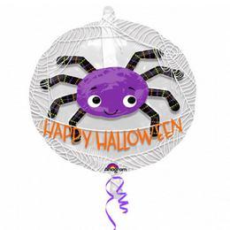24 inch-es Happy Halloween - Lila Pók Fólia Lufi Lufiban Halloween-re