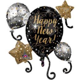 Happy New Year Csillagok és Lufik Super Shape Fólia Lufi Szilveszterre