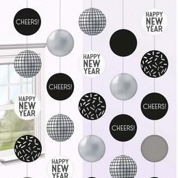 Happy New Year Disco Ball Szilveszteri Függő Dekoráció, 150 cm-es