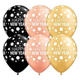11 inch-es Happy New Year Dost - Pöttyös Szilveszteri Lufi (6 db/csomag)
