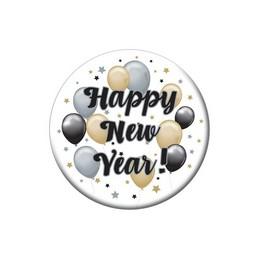 Happy New Year! Elegáns Léggömbös Szilveszteri Parti Kitűző - 5,5 cm