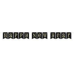 Happy New Year Fekete Arany Mintás Banner Szilveszterre - 213 cm