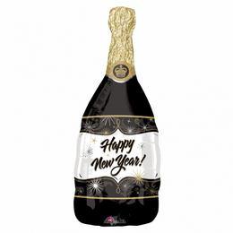 Happy New Year Fekete Pezsgősüveg Super Shape Fólia Lufi Szilveszterre