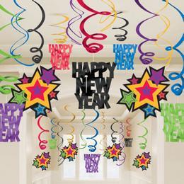 Happy New Year - Szilveszteri Spirális Függő Dekoráció - 30 db-os