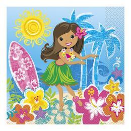 Hawaii Hula Parti Szalvéta - 33 cm x 33 cm, 16 db-os