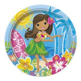 Hawaii Hula Parti Tányér - 23 cm, 8 db-os