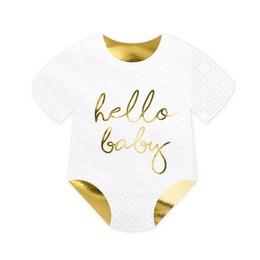 Hello Baby Feliratú Bébiruha Formájú Szalvéta - 20 db-os