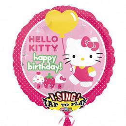 28 inch-es Hello Kitty Éneklő Szülinapi Fólia Lufi