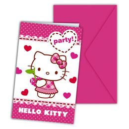 Hello Kitty Hearts - Szíves Parti Meghívó és Boríték - 6 db-os