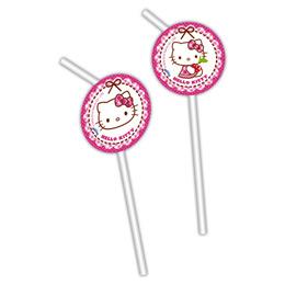 Hello Kitty Hearts - Szíves Parti Szívószál - 6 db-os