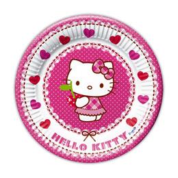 Hello Kitty Hearts - Szíves Parti Tányér - 20 cm, 8 db-os