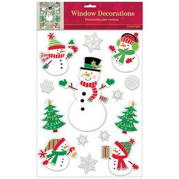 Hóember Mintás Télies Karácsonyi Ablakdekoráció Karácsonyra, 14 db-os