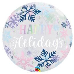 22 inch-es Hópehely Mintás - Happy Holiday Snowflakes Karácsonyi Bubble Lufi