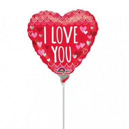 9 inch-es I Love You Sketchy Scallops Mini Shape Fólia Lufi (5 db/csomag)
