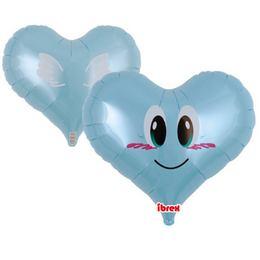 Ibrex 14 inch-es Smile Angel Jelly Blue Szív Fólia Lufi (5 db/csomag)