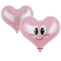 Ibrex 14 inch-es Smile Angel Jelly Pink Szív Fólia Lufi (5 db/csomag)
