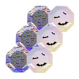 Irizáló Fényes Denevér Mintás Tányér Halloween-re, 23 cm, 6 db