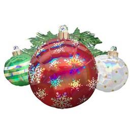 Irizáló Zöld, Fehér és Piros Karácsonyfa Díszek Karácsonyi Super Shape Fólia Lufi