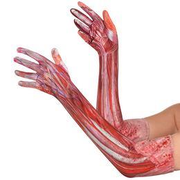 Izom Szövet Véres Hatású Hosszú Kesztyű Halloween-re