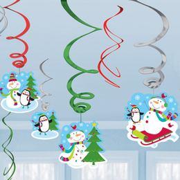 Joyful Snowman Spirális Függő Dekoráció Karácsonyra - 12 db-os